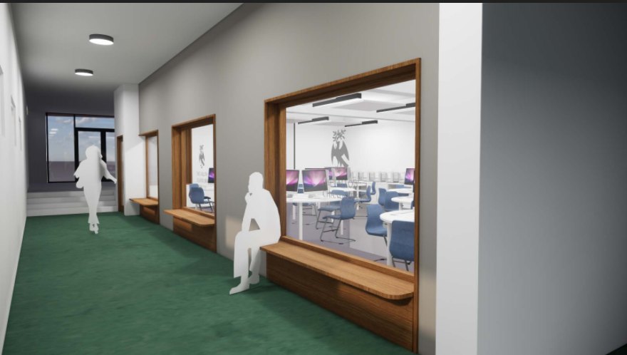 A virtual 3D image of the inside of a school building is shown with two figures walking and sitting in a hallway.